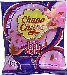 Chupa Chups Sachet de 10 Sucettes Fourrées Bubble Gum - Lot de 6