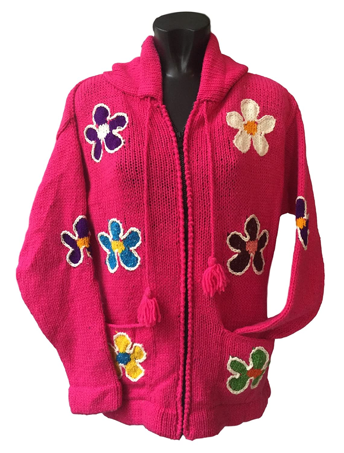 NEW Flower Hoody Wool Jacket Knitted Ecuador Fair Trade Warm Coat Thick Jumper NWT