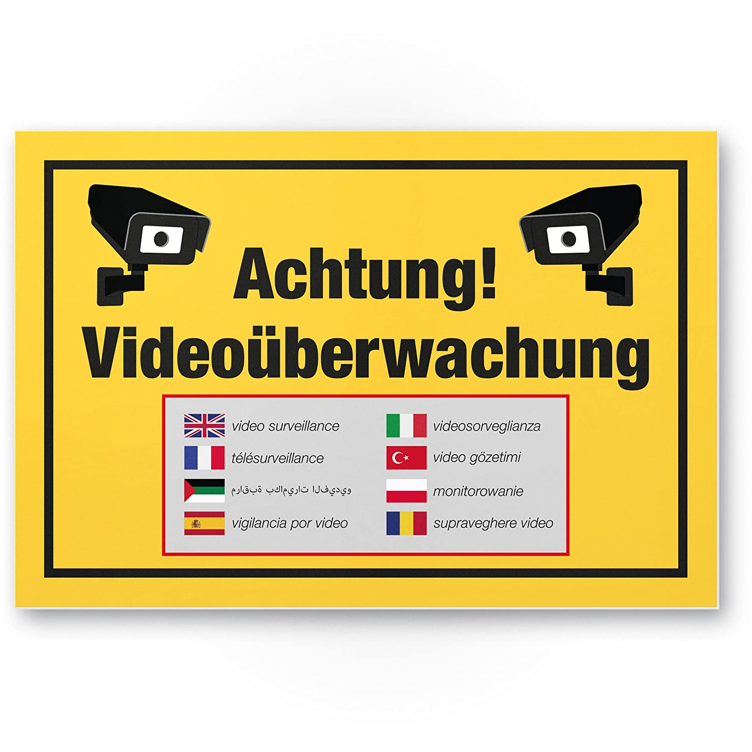 Advertencia Cartel de videovigilancia (Amarillo, 30 x 20 cm ...
