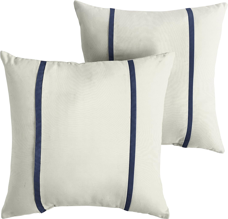 Mozaic Amps114698 Indoor Outdoor Sunbrella Square Pillows Set Of 2 16 X 16 Canvas Natural Ivory Canvas Navy Blue Garden Outdoor