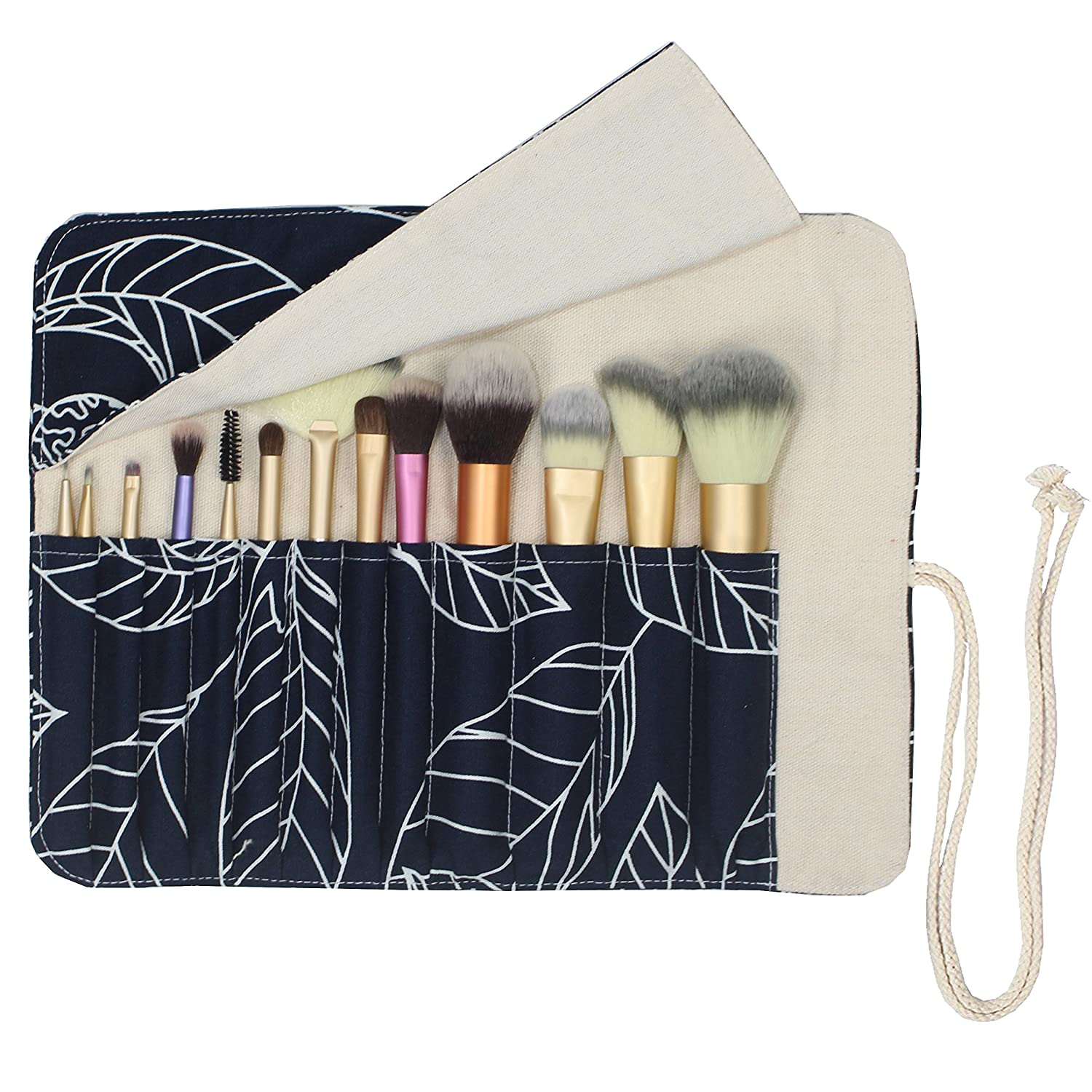 12 Pockets Makeup Brushes Rolling Case Pouch Holder Cosmetic Bag Organizer Case with Belt Strap, NO BRUSHES (Blue Leaf)