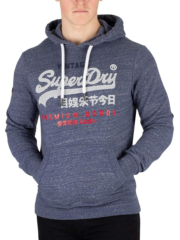 Superdry Herren Premium Waren Pullover Hoodie, Blau