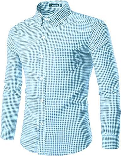 SOOPO Camisa de Manga Larga para Hombres Camisa de algodón con ...