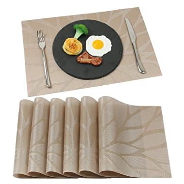 Placemats Ivalue PVC Place Mats Washable Bamboo Placemats for Table Non Slip Woven Plastic Table Mats (Set of 6, Tan)