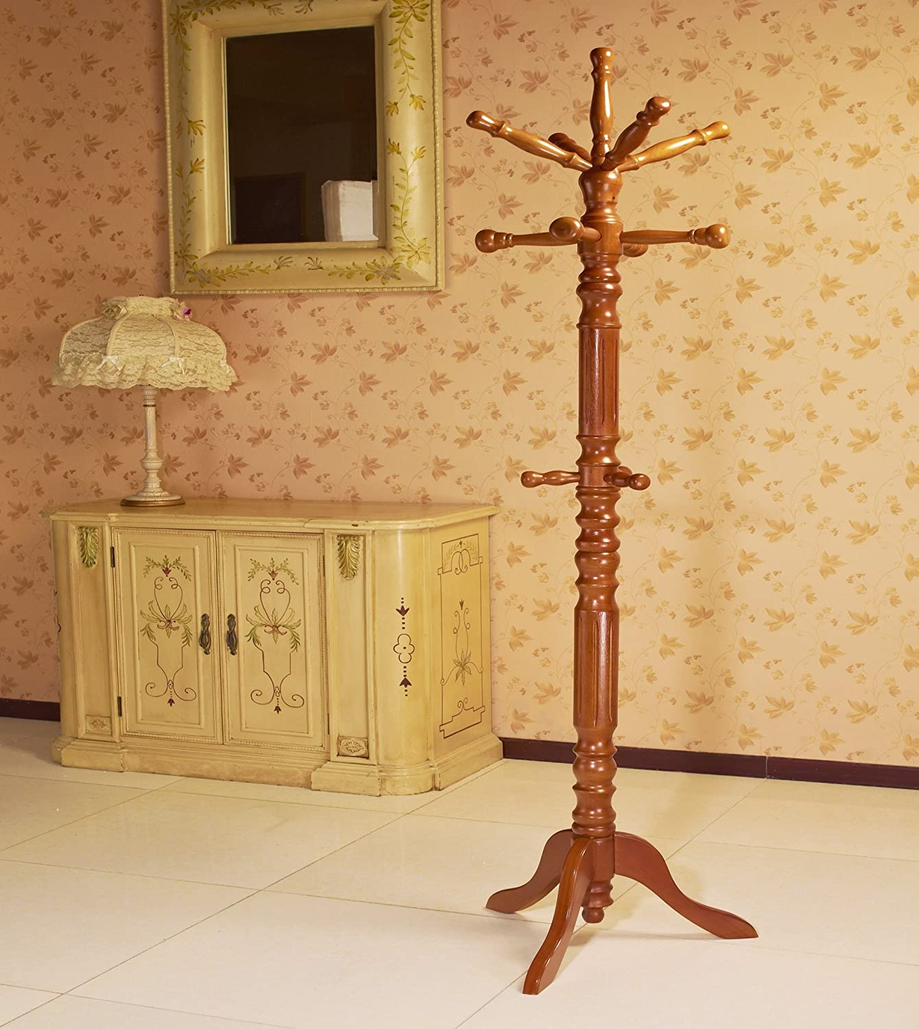 Cherry Frenchi Home Furnishing Traditional Spinning Top Wooden Coat Rack