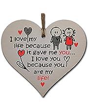 Handmade Wooden Hanging Heart Plaque Gift perfect for your Boyfriend or Girlfriend Romantic Keepsake