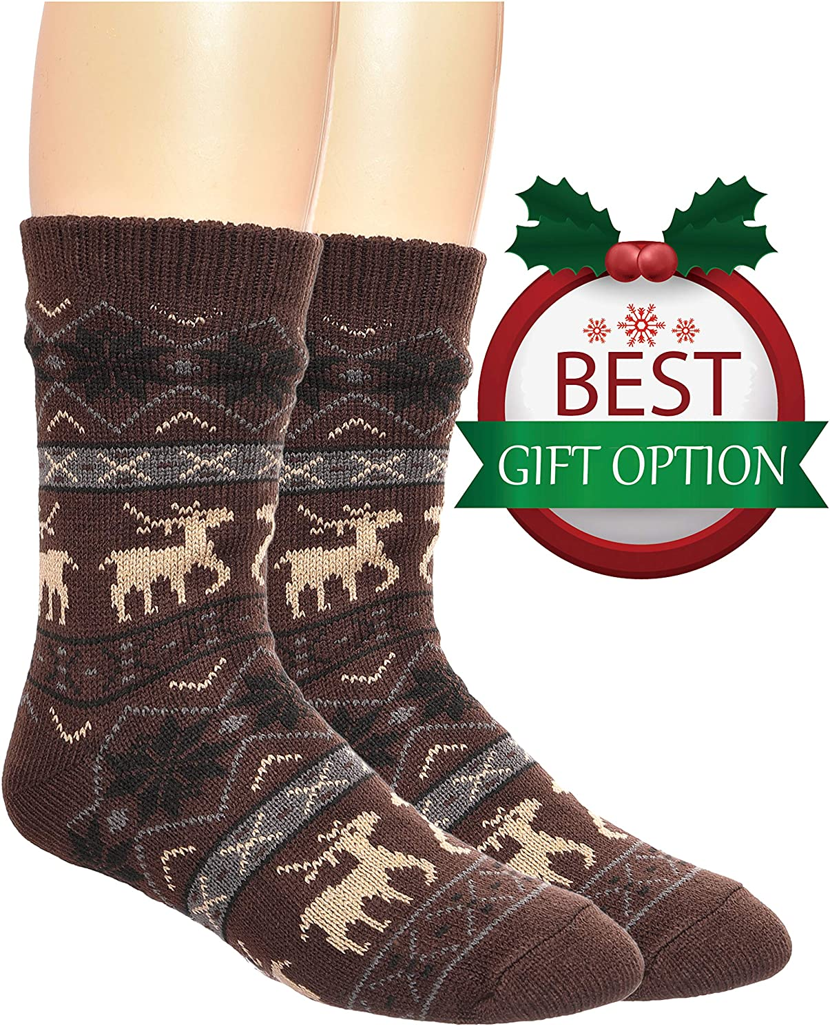 Mens Fuzzy Slipper Socks Warm Thick Heavy Fleece lined Christmas Stockings Fluffy Winter Socks With Grippers