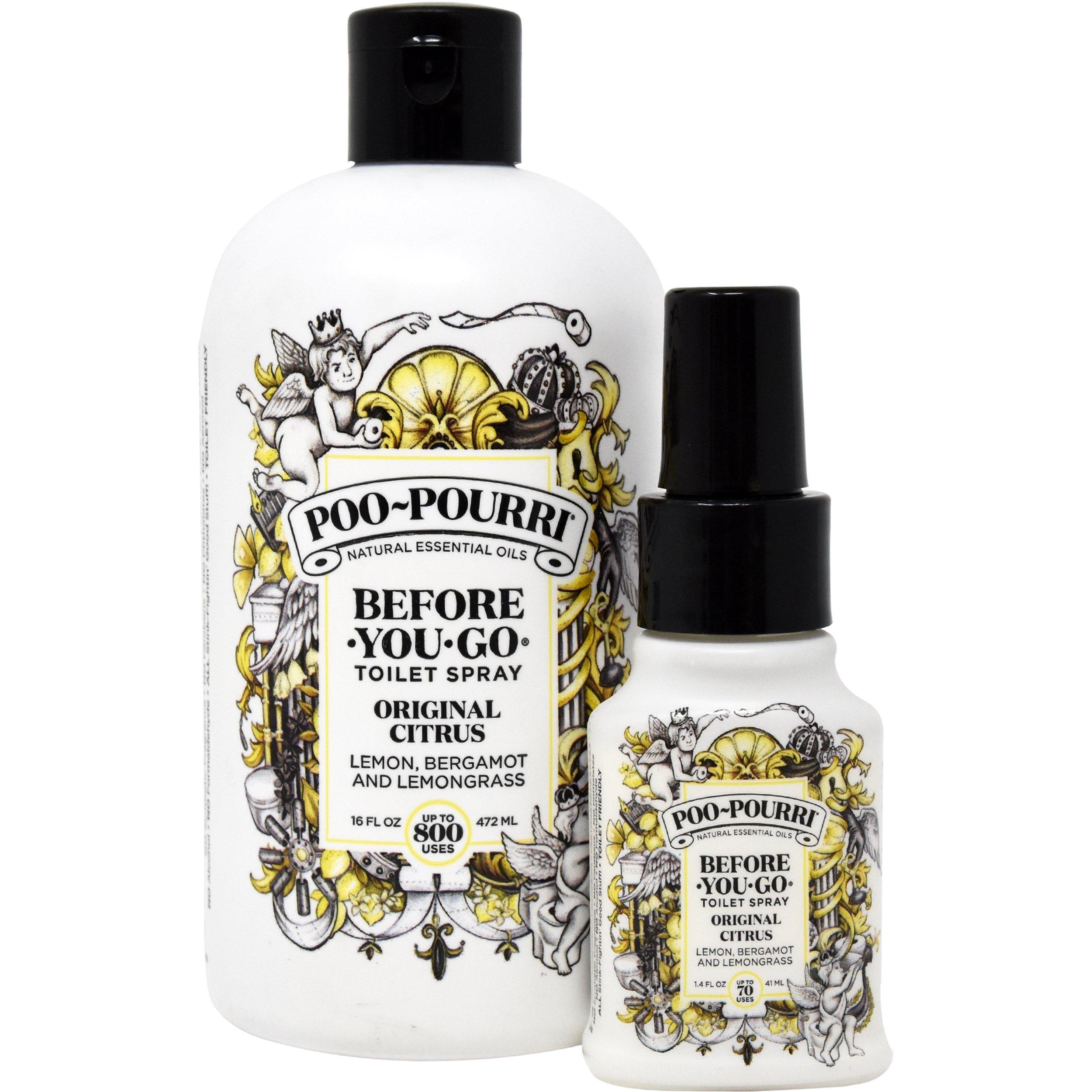 Poo Pourri Original 16-Ounce Refill Bottle and 1.4-Ounce Original
