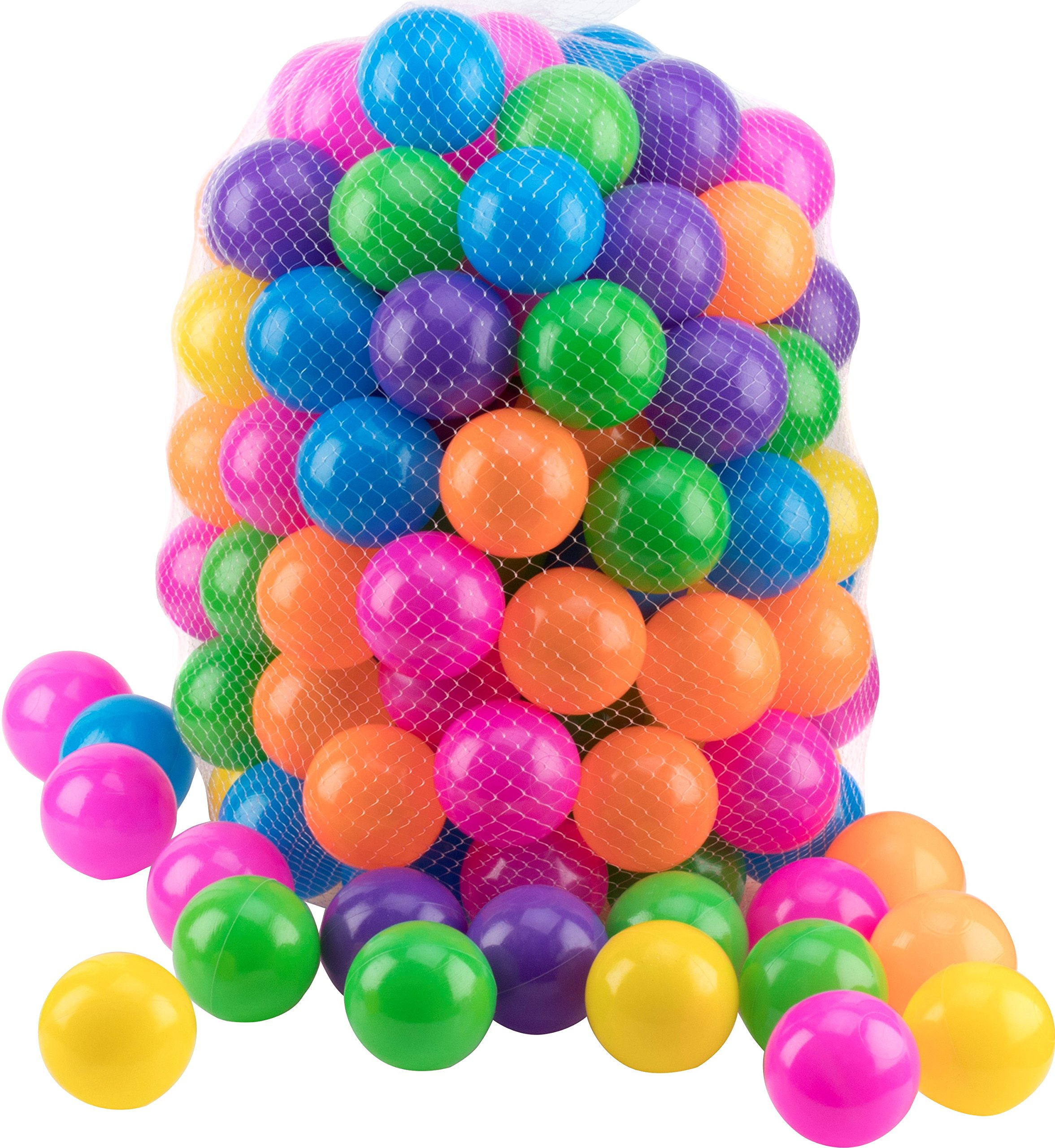 Play22 Ball Pit 200 Pack - Ball Pit Balls Crush Proof BPA Free - Includes Reusable Zipper Mesh Bag - Colorful Fun Plastic Balls - Ball Pit for Kids and Baby - Ball Pit for Any Ball Pool - Original
