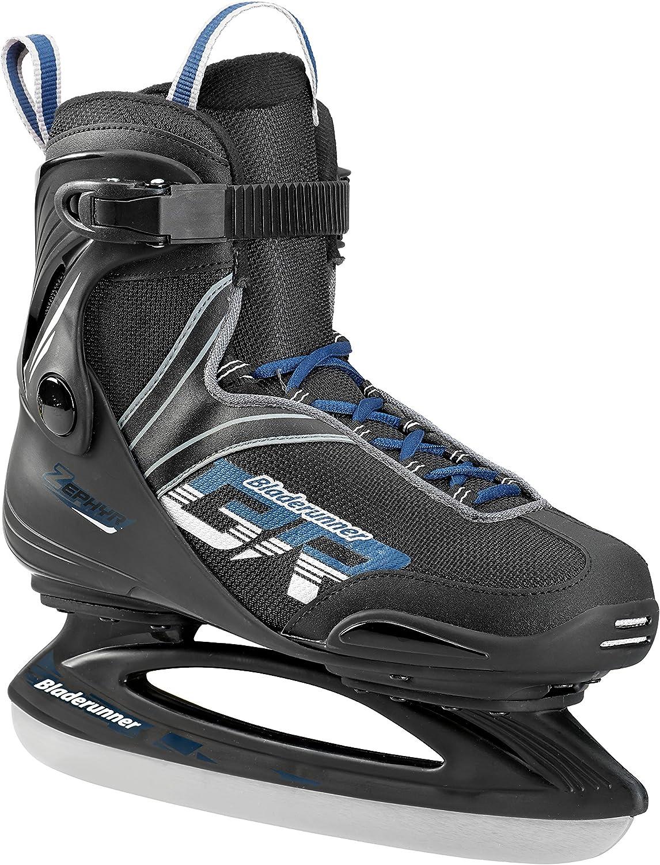 Bladerunner Ice by Rollerblade Zephyr Men s Adult Ice Skates, Black and Blue, Recreational, Ice Skates