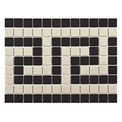 Antique Hex Greek Key X Inch Border Porcelain Floor And - 3 inch square ceramic tiles