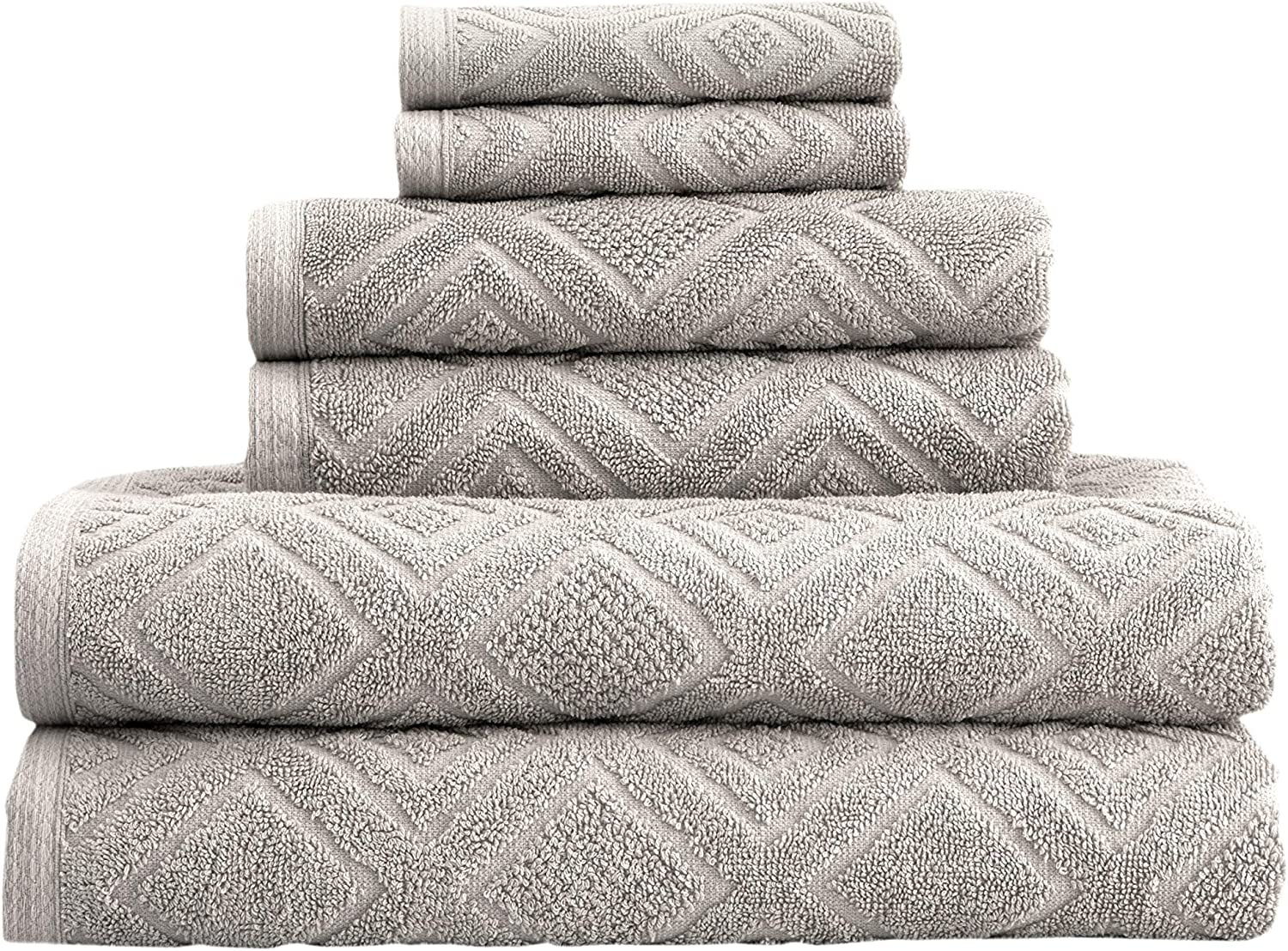 Classic Turkish Towels 6 Piece Cotton Bath Towel Set - Luxury Soft and Thick Bath Towels 600 GSM Made with 100% Turkish Cotton (Stone)