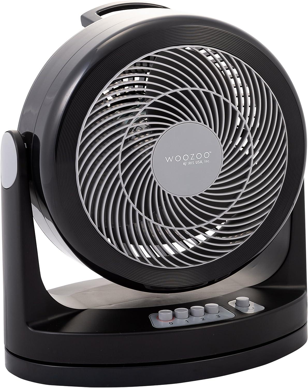Iris Ohyama, ventilador silencioso con oscilación - Woozoo - HM23, plástico, Negro, 33 W, 33m², 35,4 x 23,2 x 40 cm