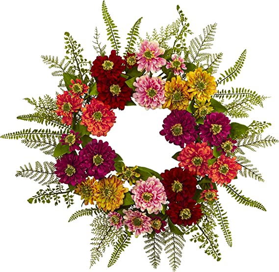 Nearly Natural Mixed Flower Wreath 20in Multicolor Home Kitchen Amazon Com