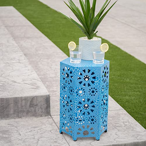 Elliot Outdoor 14 Inch Sunburst Iron Side Table Crackle Blue
