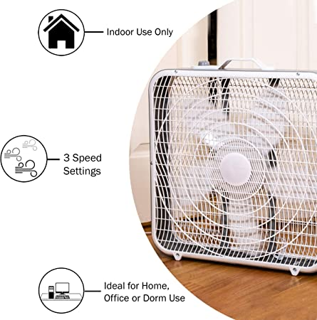 Amazon Com Comfort Zone Cz200a 20 3 Speed Box Fan For Full Force Air Circulation With Air Conditioner Home Kitchen