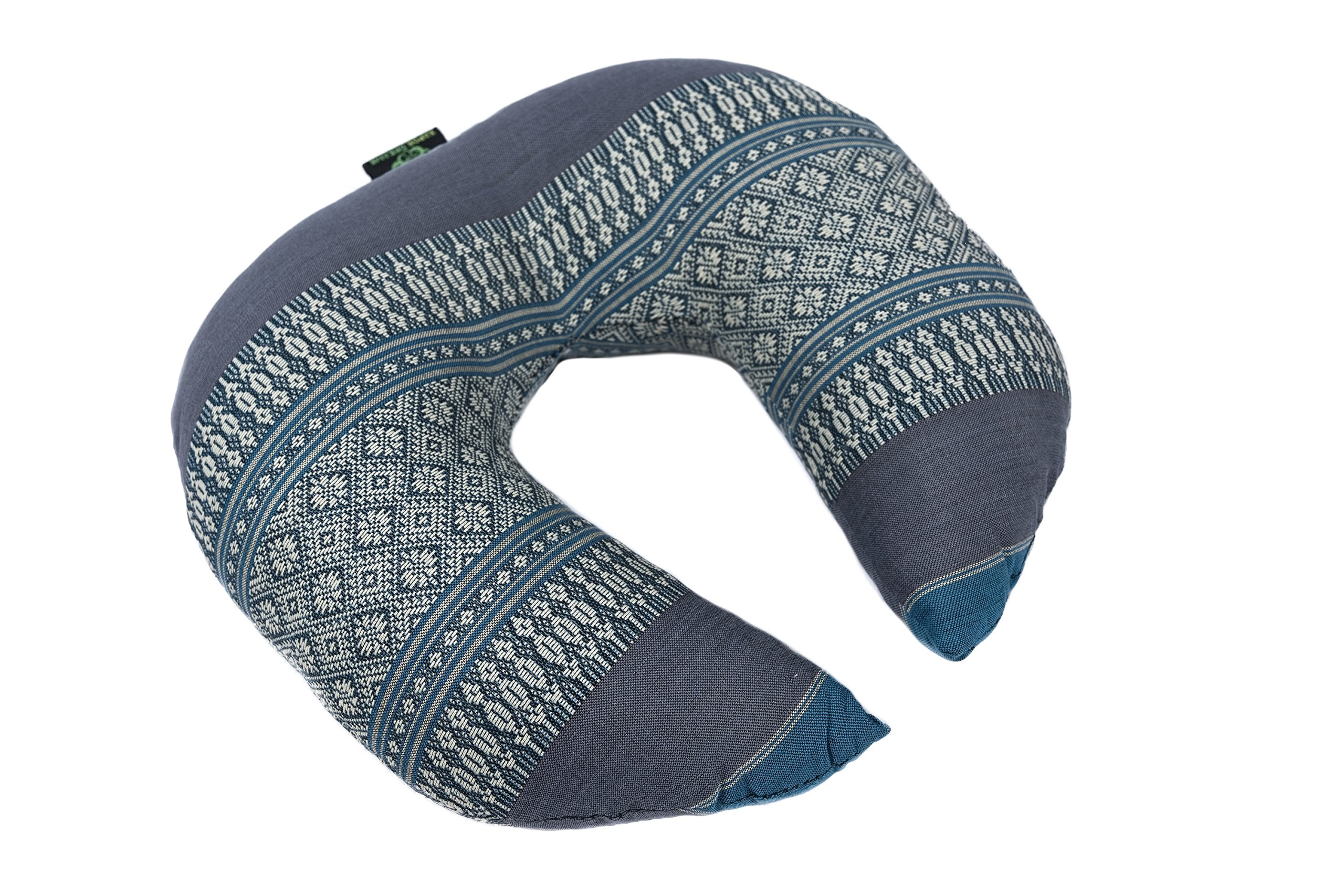 Face Cradle Cushion, 12''x11''x4'', Massage Pillow 100% Kapok Filled Head Rest Blue Tones Thai Design.Neck Cushion