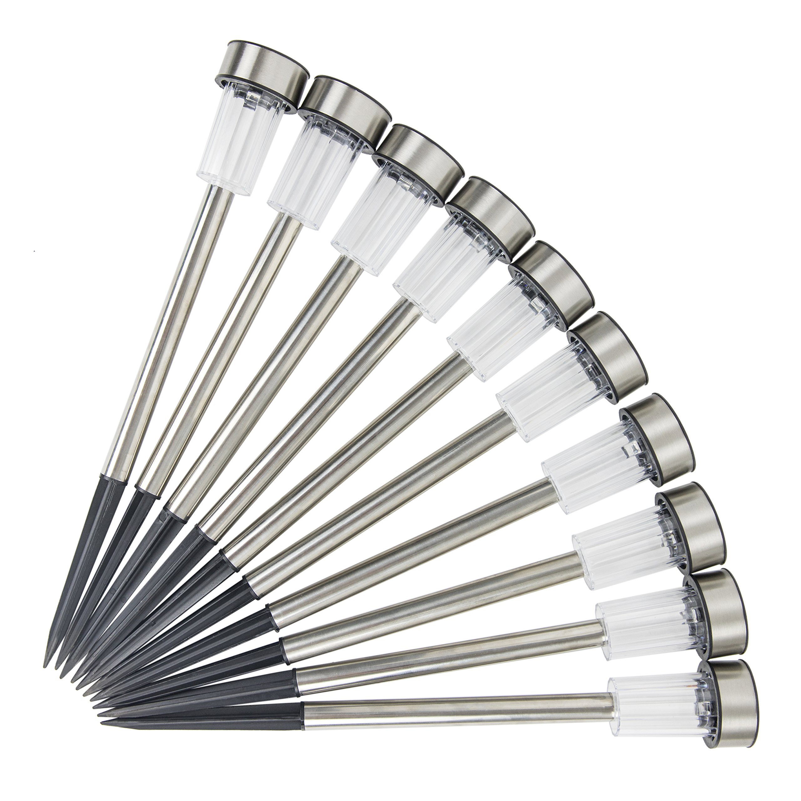 Logical Luxury Decorative Outdoor Solar Garden Lights (10 Pack) enhances Pathways driveways patios and gazebos; Classic Simple Stainless Steel Design; Soft White LED Powered; Water/Weatherproof by Logical Luxury (Image #3)