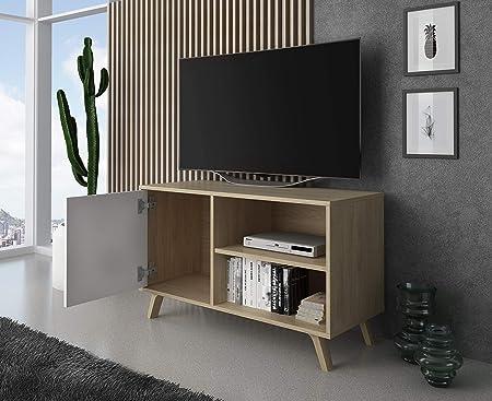 SelectionHome - Mueble TV 100 con puerta, mueble de salon comedor, Modelo Wind, color Puccini y Blanco, medidas: 92 cm (largo) x 40 cm (fondo) x 57 cm (alto): Amazon.es: Hogar