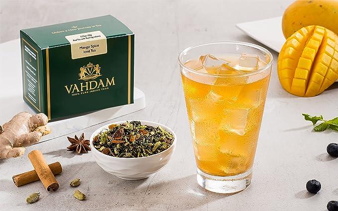 VAHDAM, Mango Especies Té helado chai | 40 porciones, 8 cuartos | Ingredientes 100