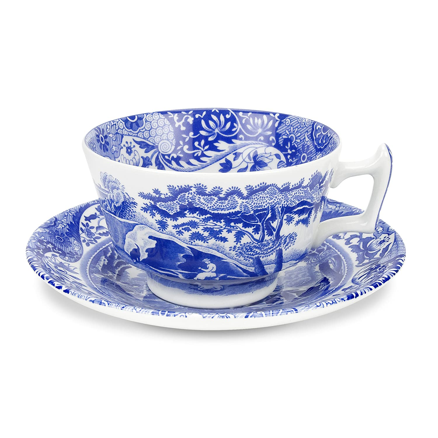 Spode Blue Italian Teacup and Saucer, Set of 4 1532504