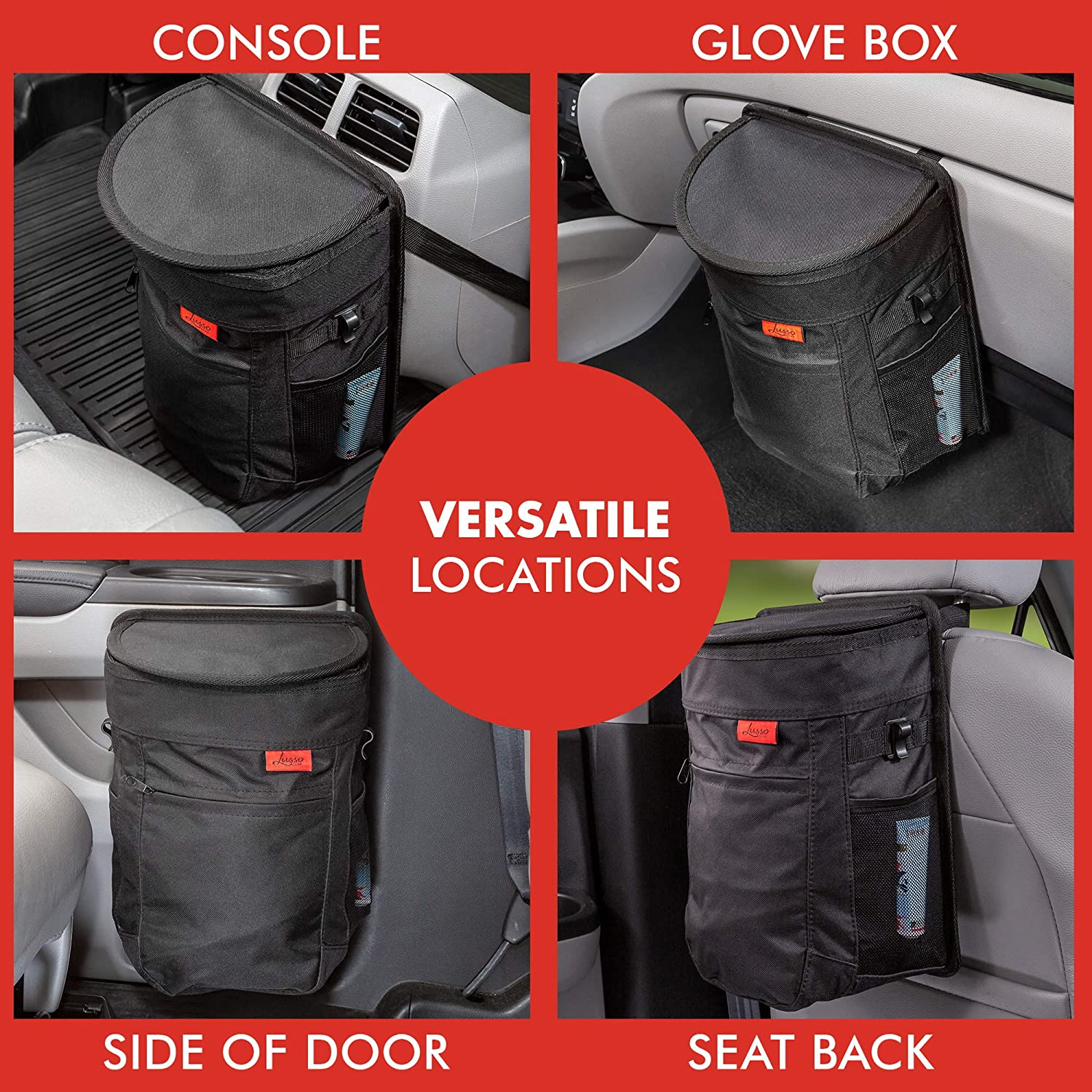 Removable Liner /& Storage Pockets Keeps Your Truck Compact 2.5 Gallon Hanging Garbage Bin with Odor Blocking Technology Minivan /& SUV Looking Sharp /& Smelling Fresh Spill-Proof Car Trash Can