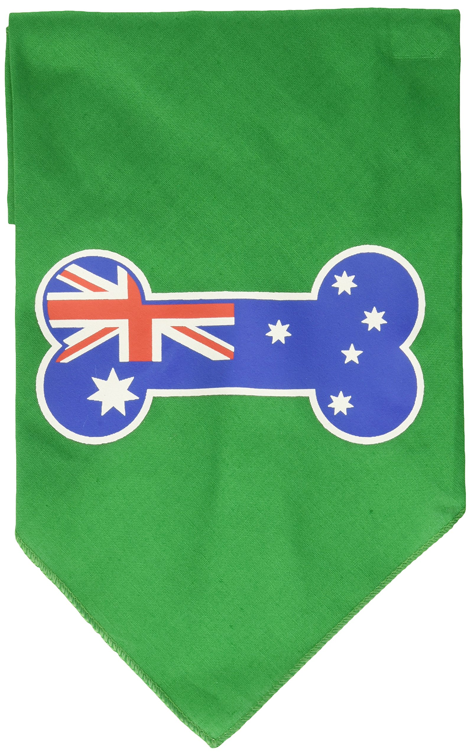 Mirage Pet Products Bone Flag Australian Screen Print Bandana for Pets, Large, Emerald Green by Mirage Pet Products (Image #1)