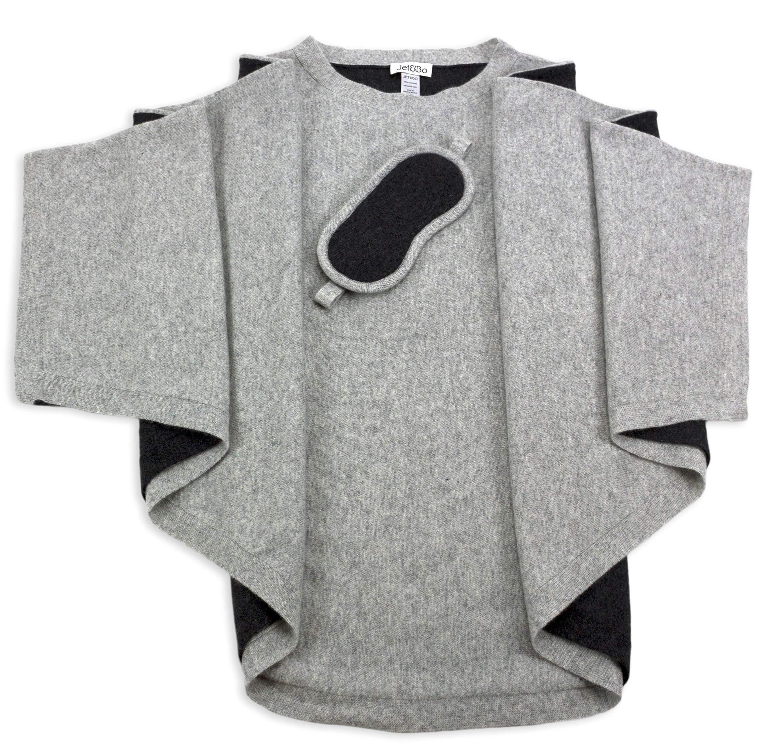 Jet&Bo 100% Cashmere Poncho & Eye Mask Travel Set Gray