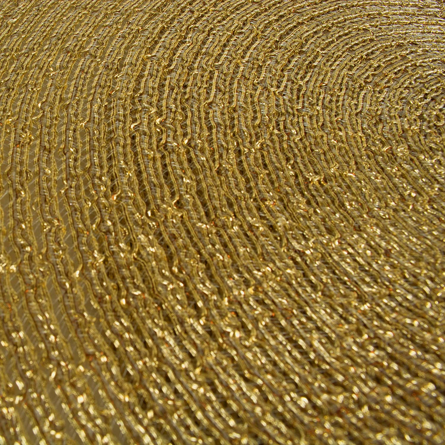DII Round Woven PP PLACEMAT Gold Set//4 Champagne Piece