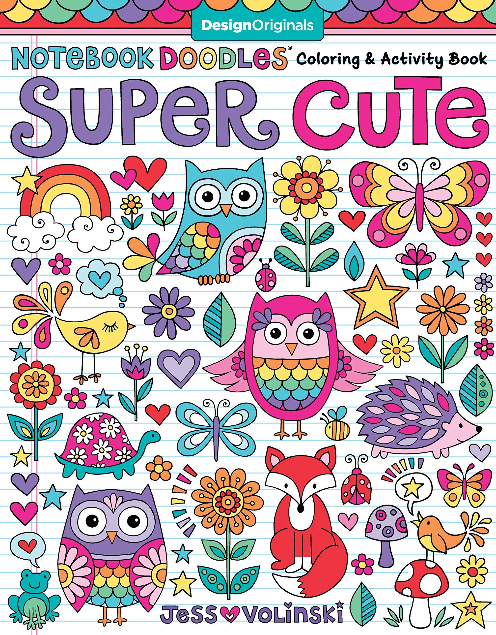 Amazon Notebook Doodles Super Cute Coloring Activity Book Design Originals 32 Adorable Animal Designs Beginner Friendly Relaxing Creative Art