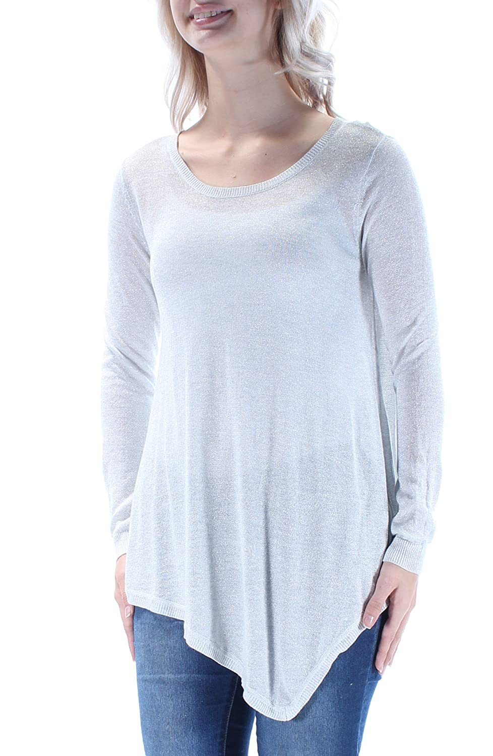 Joie $218 Womens New 1177 Silver Glitter Sheer Long Sleeve Trapeze Top M B+B