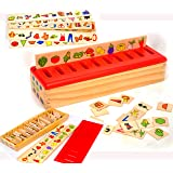 Toys of Wood Oxford Wooden Sorting Box with Sorting Lid – 99 pieces- 8 Categories Total 80 Objects