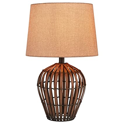 Rivet modern rattan table lamp 20h with bulb brown with linen rivet modern rattan table lamp 20quoth with bulb brown with linen aloadofball