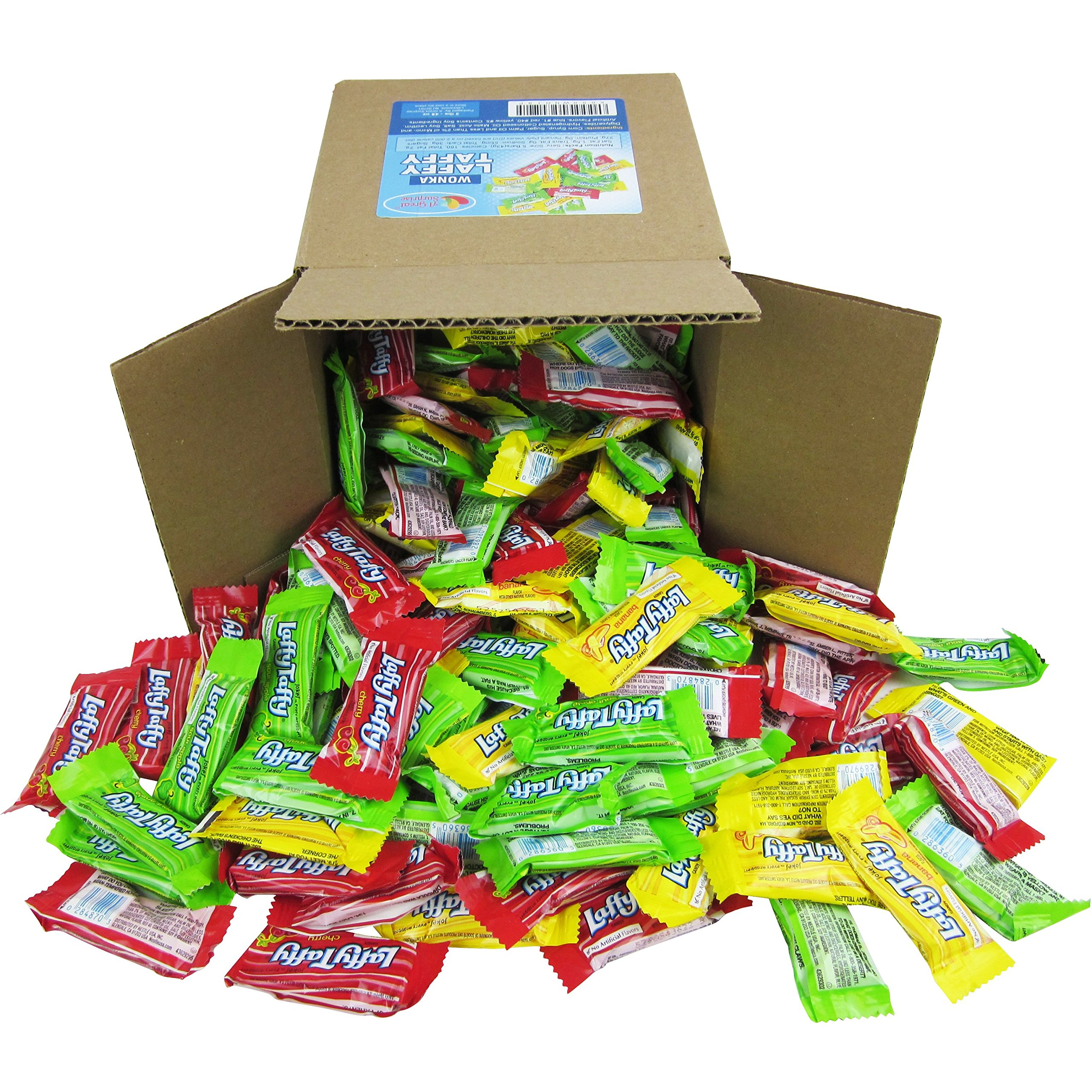 Laffy Taffy Assorted Fruit Flavors, Cherry Green Apple Banana Candy Bulk Party Box - 6x6x6 Family Size by A Great Surprise
