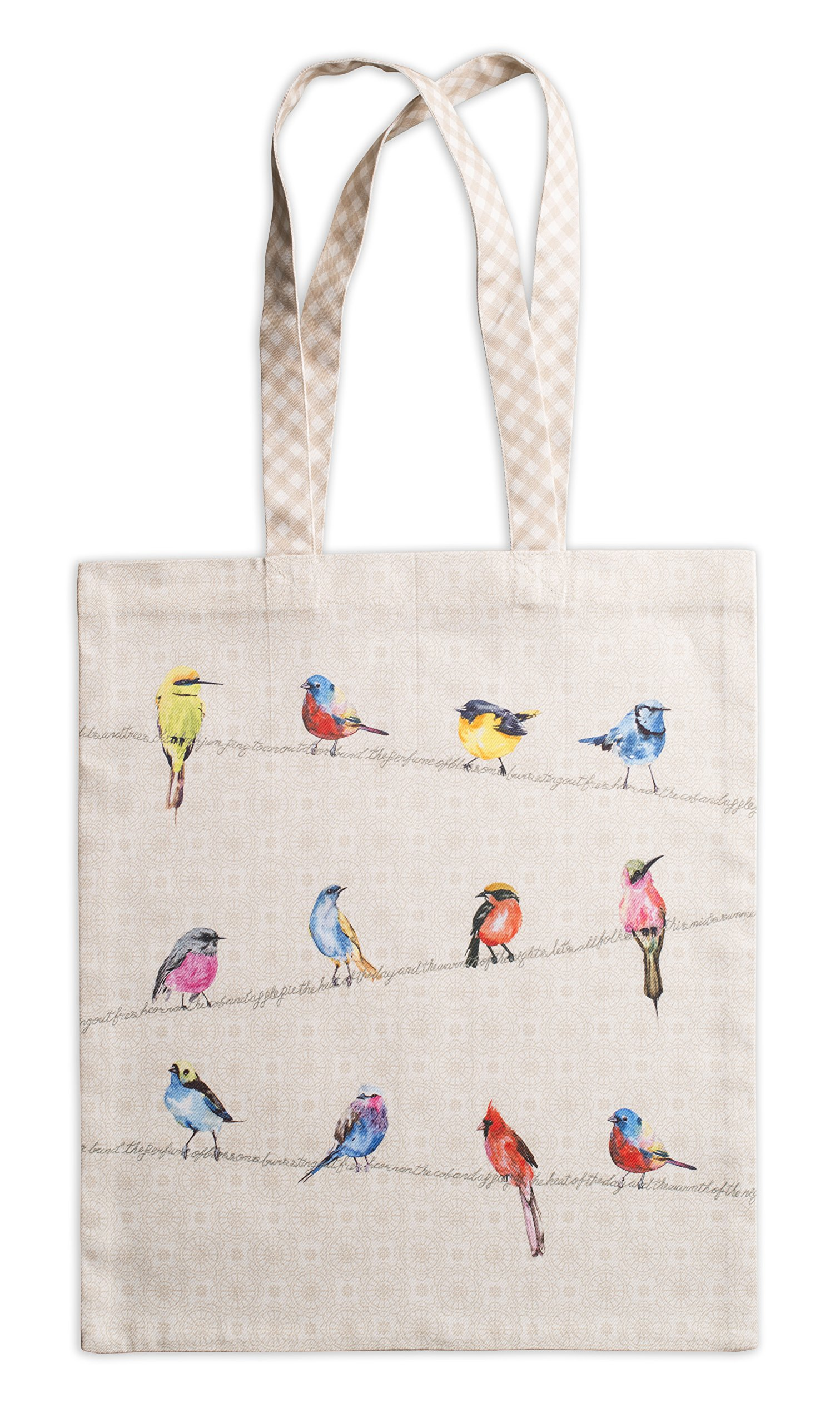 Maison d' Hermine Birdies On Wire 100% Cotton Tote Bag 14 Inch by 17 Inch