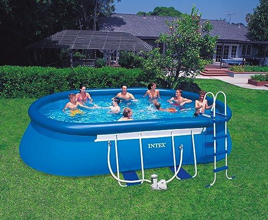 Intex Piscina sobre Suelo Ovalado Frame Pool Set, TÜV/GS, Azul ...