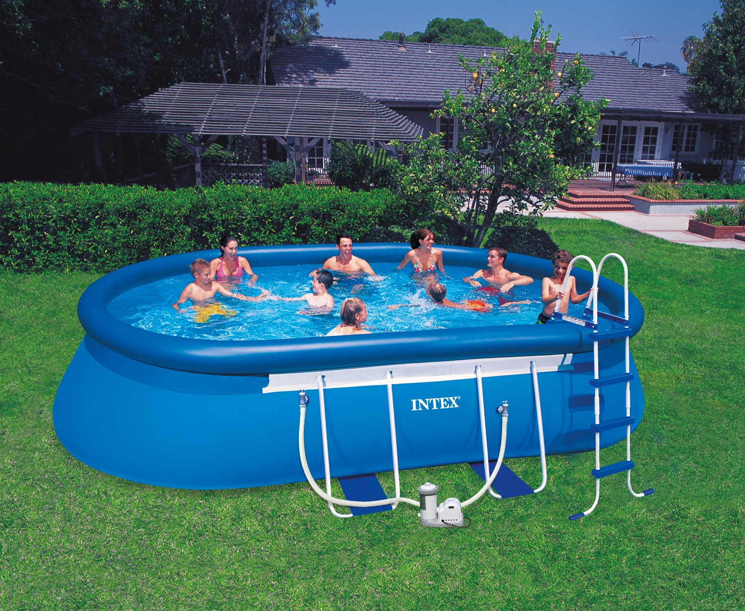 Intex Aufstellpool Oval Frame Pool Set, TÜV/GS, Blau, 610 x 366 x 122 cm