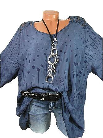 Tunika Shirt Blusenshirt A- Linie mit Häkelspitze und süßem Muster ...