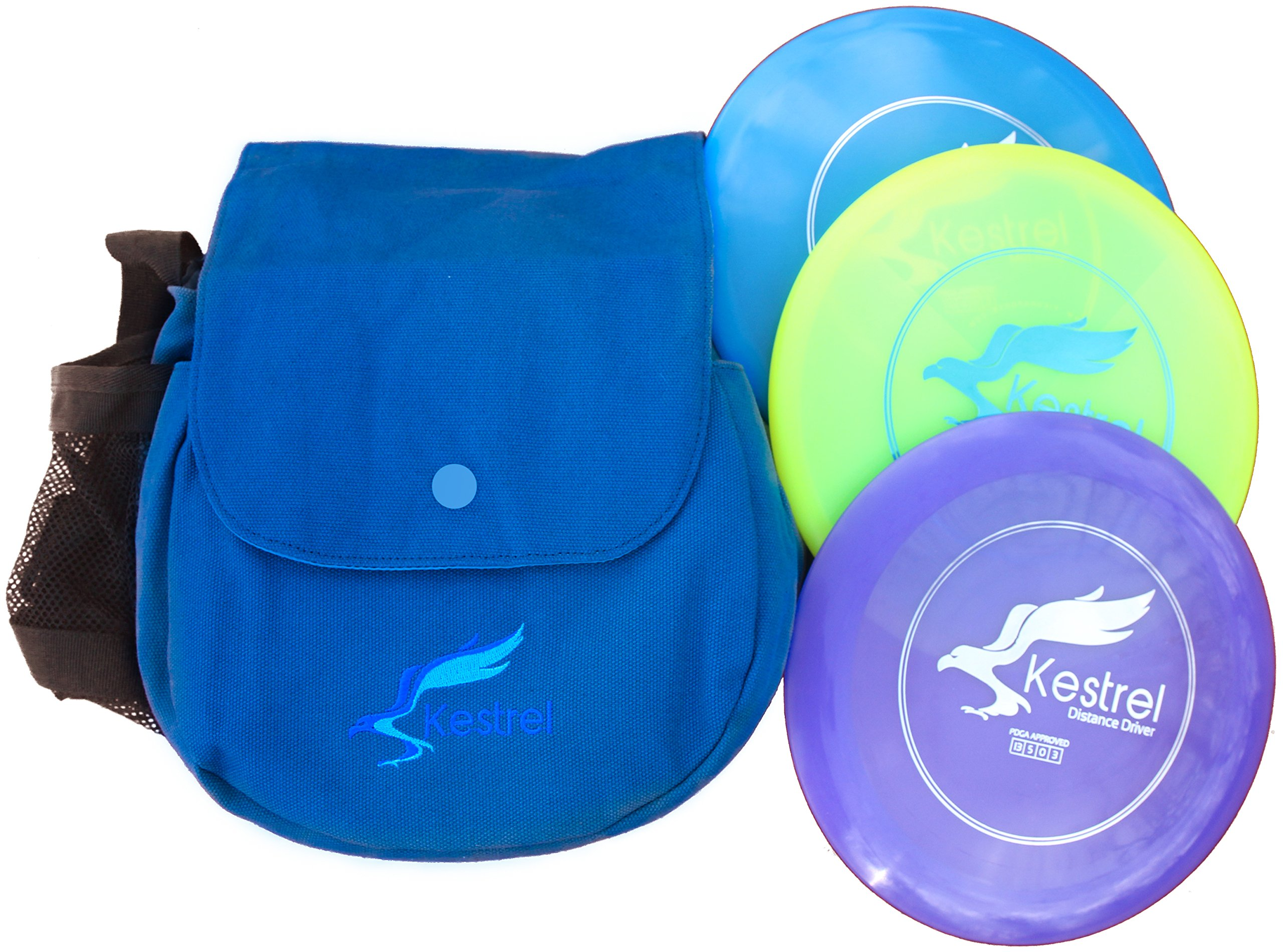 Kestrel Discs Golf Pro Set | 3 Disc Pro Pack Bundle + Bag | Disc Golf Set | Includes Distance Driver, Mid-Range and Putter | Small Disc Golf Bag (Blue) by Kestrel Discs