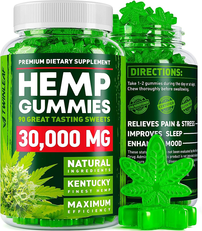 Hemp Gummies - 30000 MG - Premium Stress & Anxiety Relief - Made in USA - 100% Natural & Safe Oil Gummies - Mood Enhancer & Immune Support - Rich in Vitamins B, E & Omega 3 - 90 PCS