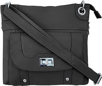 Roma Leathers Women's Concealed Carry Purse - Premium Cowhide Leather Cross Body Handbag - YKK Lockable Zipper - Cut Proof Adjustable Shoulder Strap - Twist Lock Buckle - 30 Day Manufacturer Guarantee