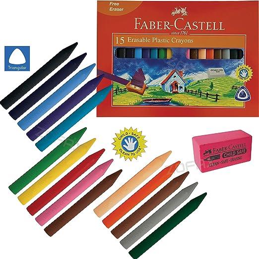 FABER CASTELL - Pack de 15 ceras de plástico borrables (70 mm ...