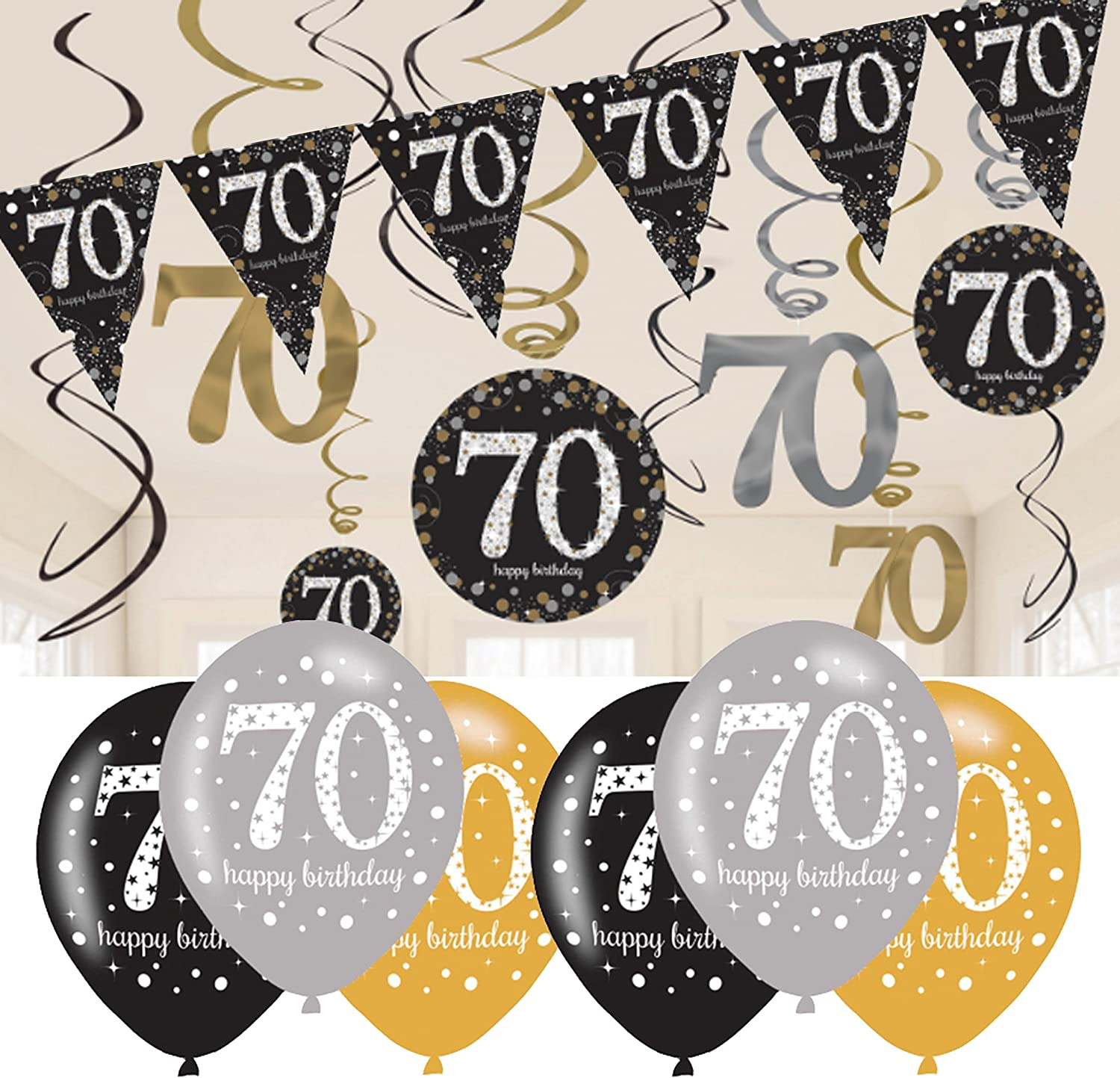 9ft Rose Gold Happy 70th Birthday Foil Banner Ladies 70 Party Decoration Silver