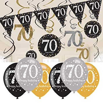70th Birthday Decorations Black And Gold Bunting Balloons Hanging