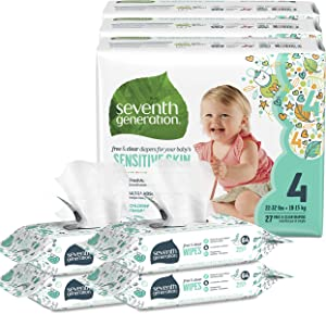 Seventh Generation Size 4 Diapers and Wipes Box - 81 Diapers with Animal Prints and 256 Wipes for Sensitive Skin (Packaging May Vary)