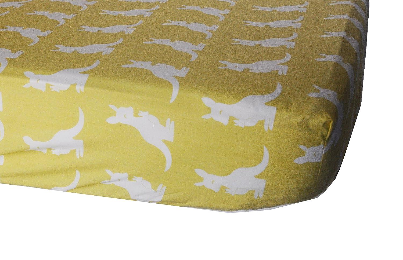 Pam Grace Creations Set of 2 Honeydoo Kangaroo Crib Sheets, Gold/White CS-KANGAROO