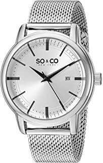 SO&CO New York Mens 5207.1 Madison Quartz Date Stainless Steel Mesh Bracelet Watch