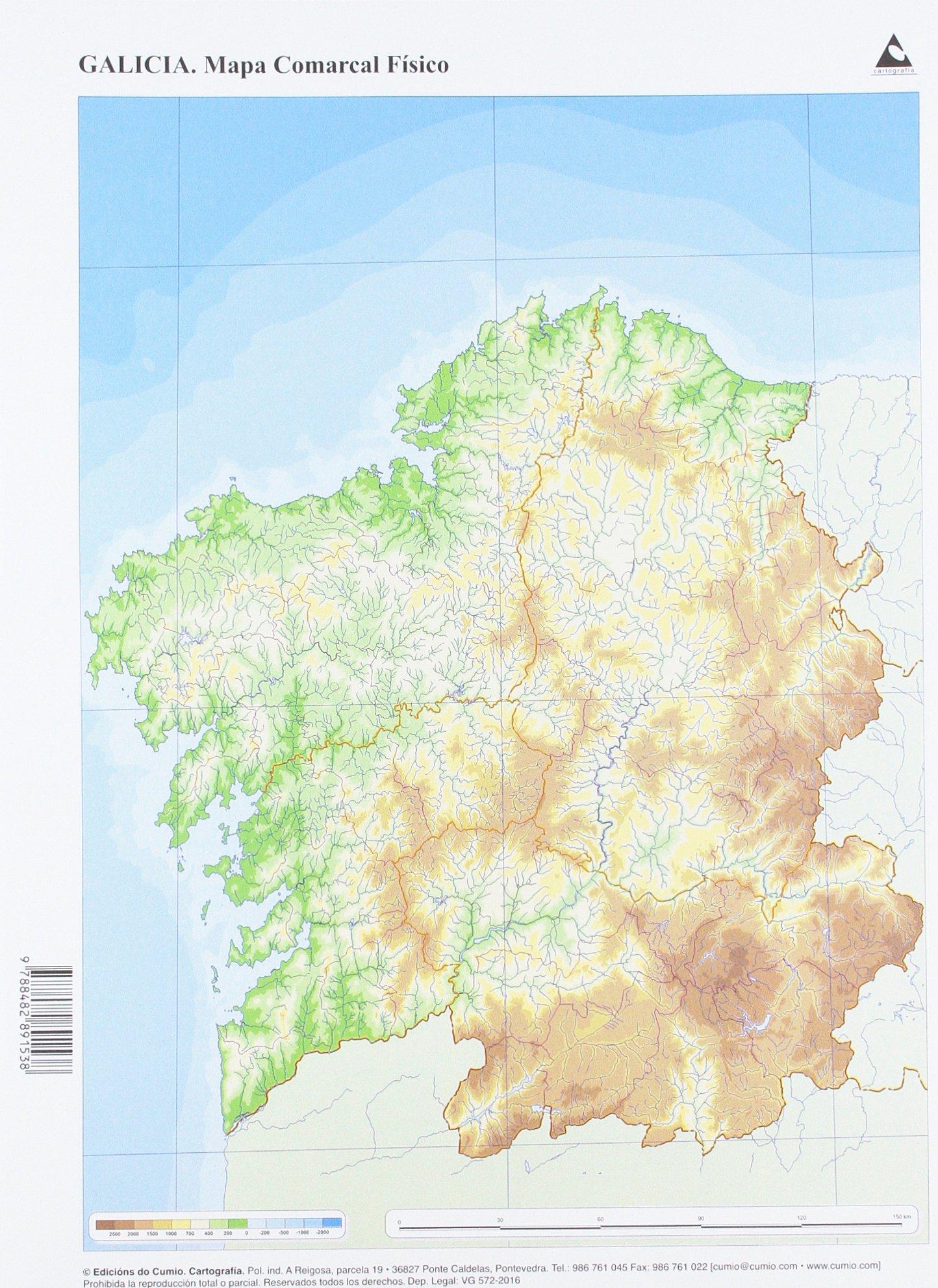 Mapa De Galicia Fisico Mudo.Mapa Fisico Galicia Comarcal Mapas Mudos Amazon Es