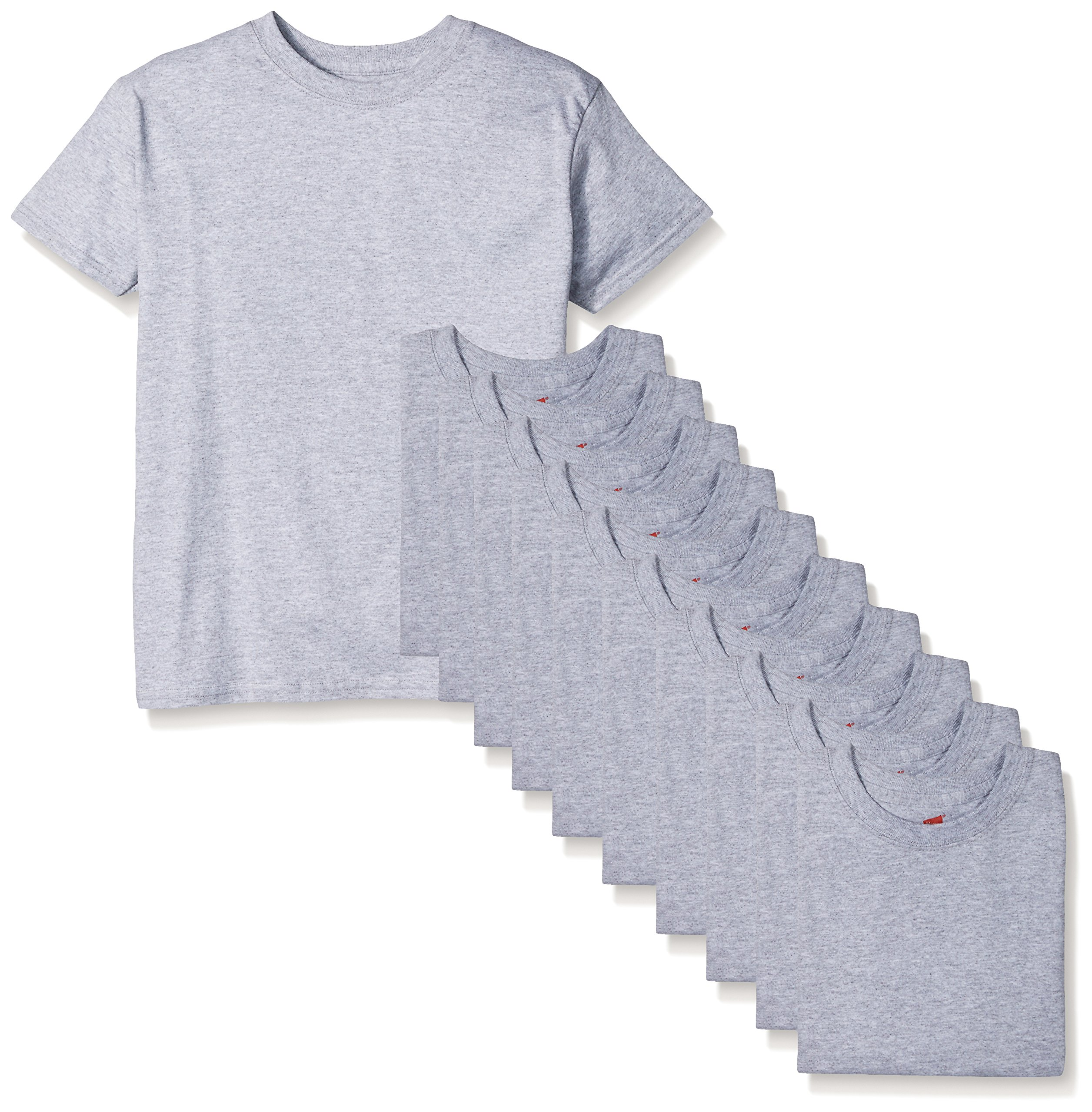 Hanes Big Boys' Comfortsoft T-Shirt (Pack of 12), Light Steel, X-Large