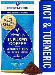VitaCup Genius Keto Coffee Ground Bags 12oz MCT, Turmeric & Cinnamon | Energy & Focus| Smart Coffee| Paleo | Whole 30 | Vitam